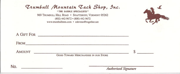 trumbull mountain gift certificate trumbull mountain tack shop. Black Bedroom Furniture Sets. Home Design Ideas